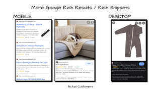 Example Rich Results for actual customers: regular and mobile