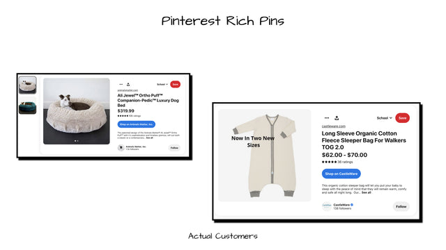 Example Pinterest Rich Pins for acual customers