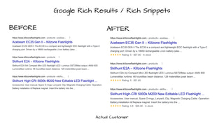 Example Rich Results for actual customer with before and after