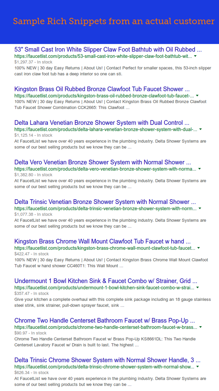 Example Rich Snippets for an actual customer, faucetlist.com