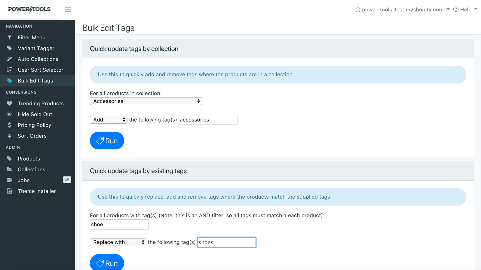 Add or remove tags based on collections or other tags