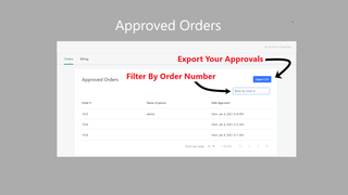 image of approved orders datatable
