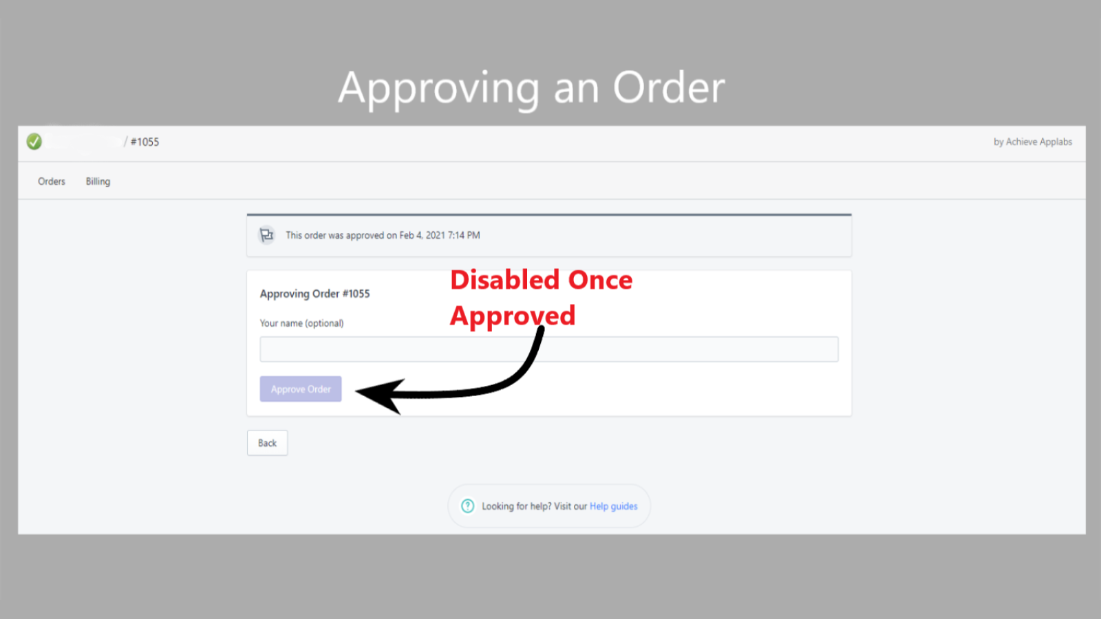 image of approving an order screen
