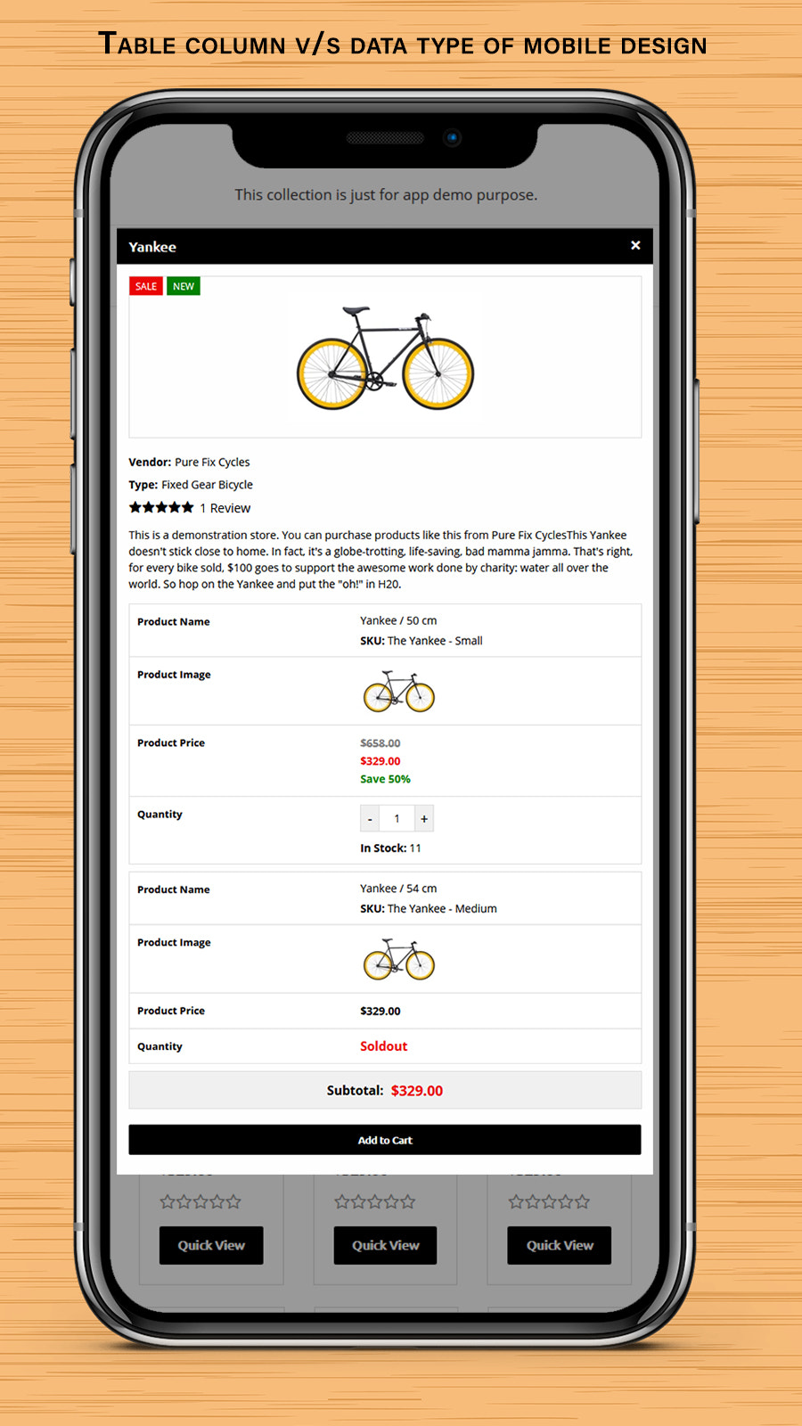 Quick Variants View - Frontend Mobile View