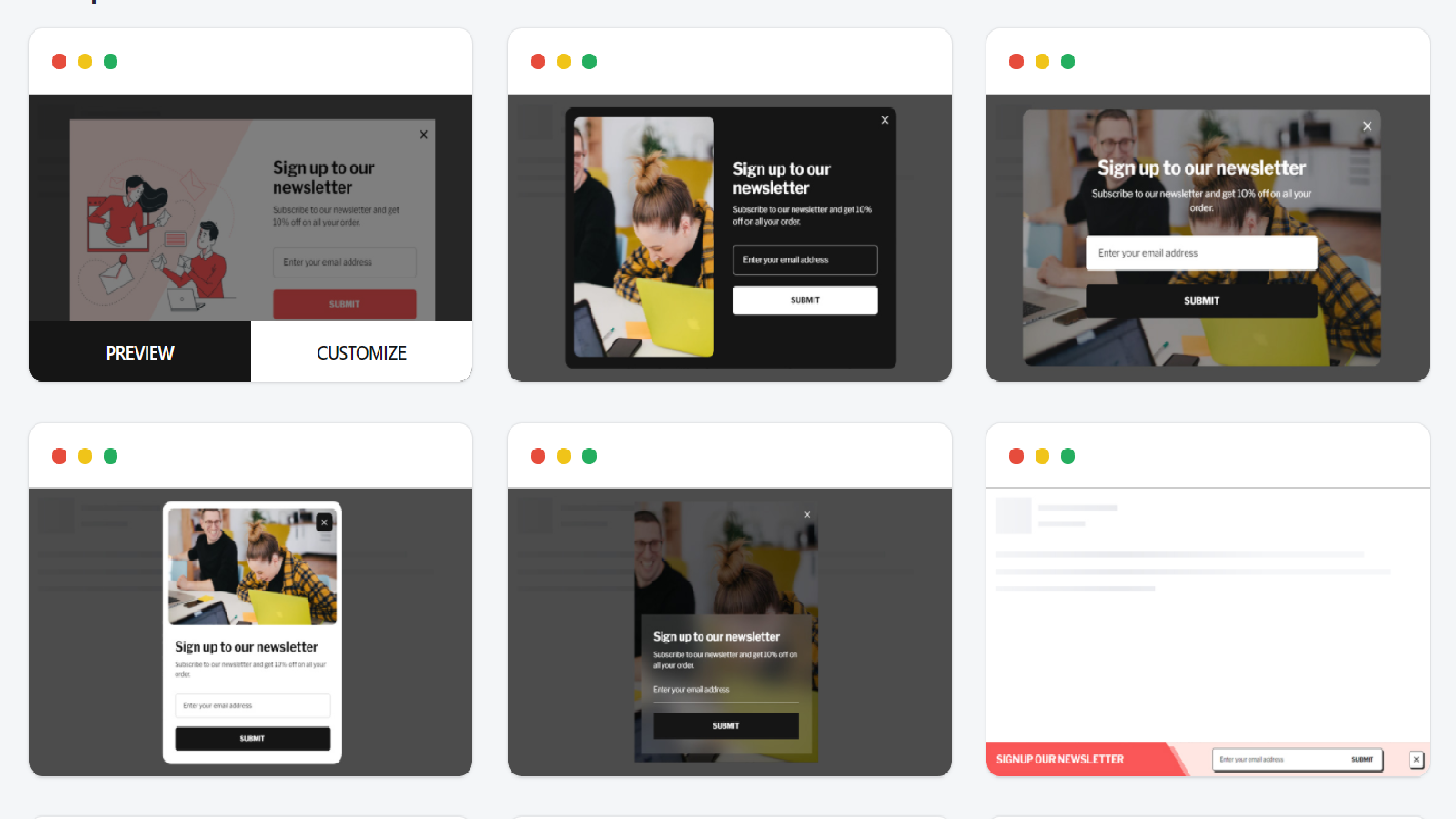 Popup available templates