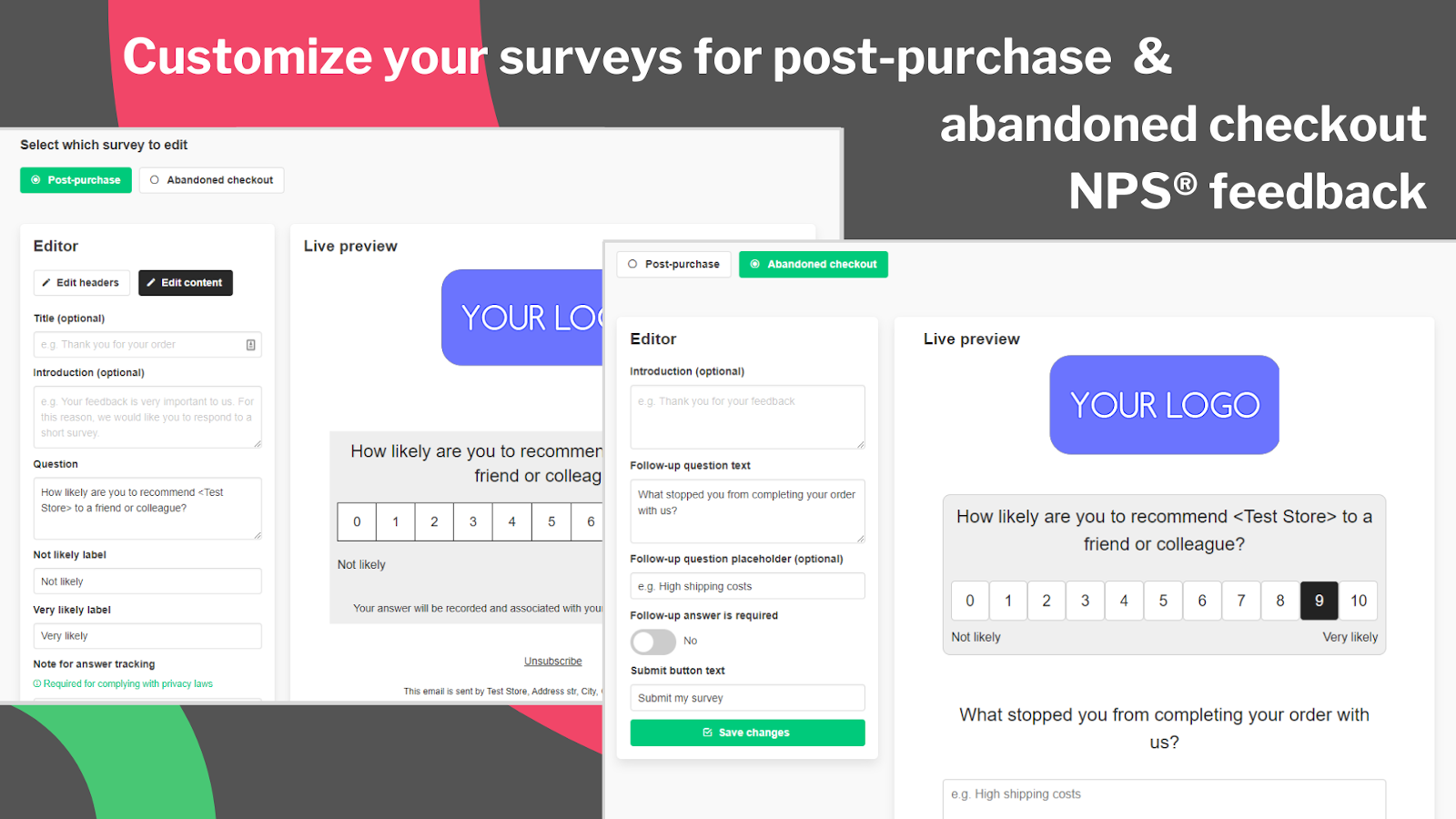 Customize your surveys' email & page to your needs