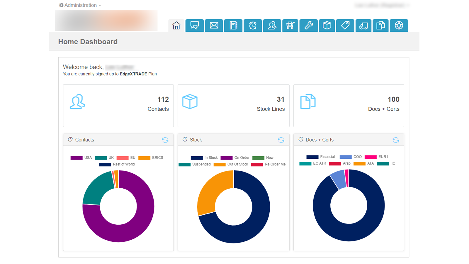 Home Dashboard with CRM + Stock Control + Docs Generation