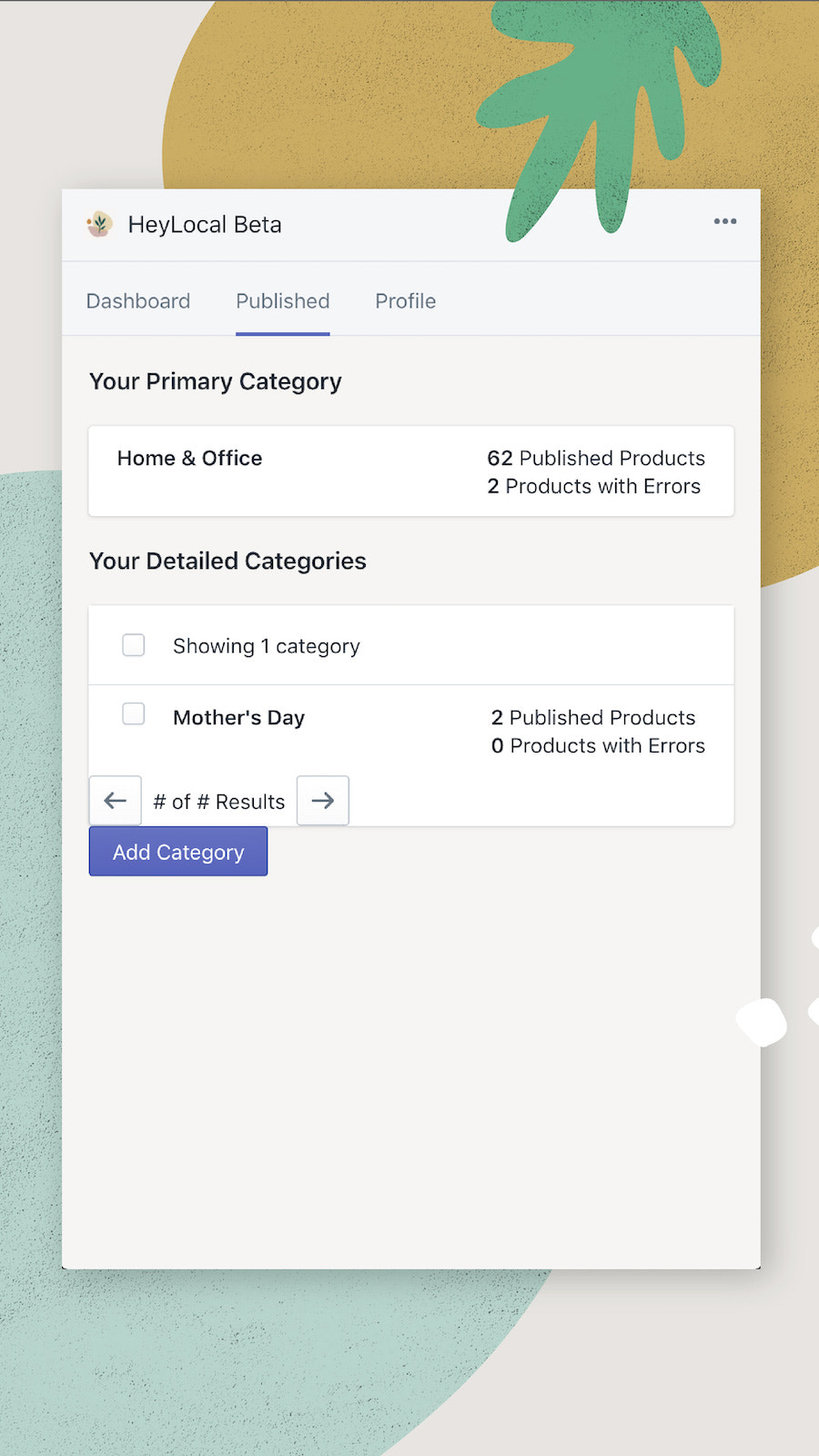 Your published categories