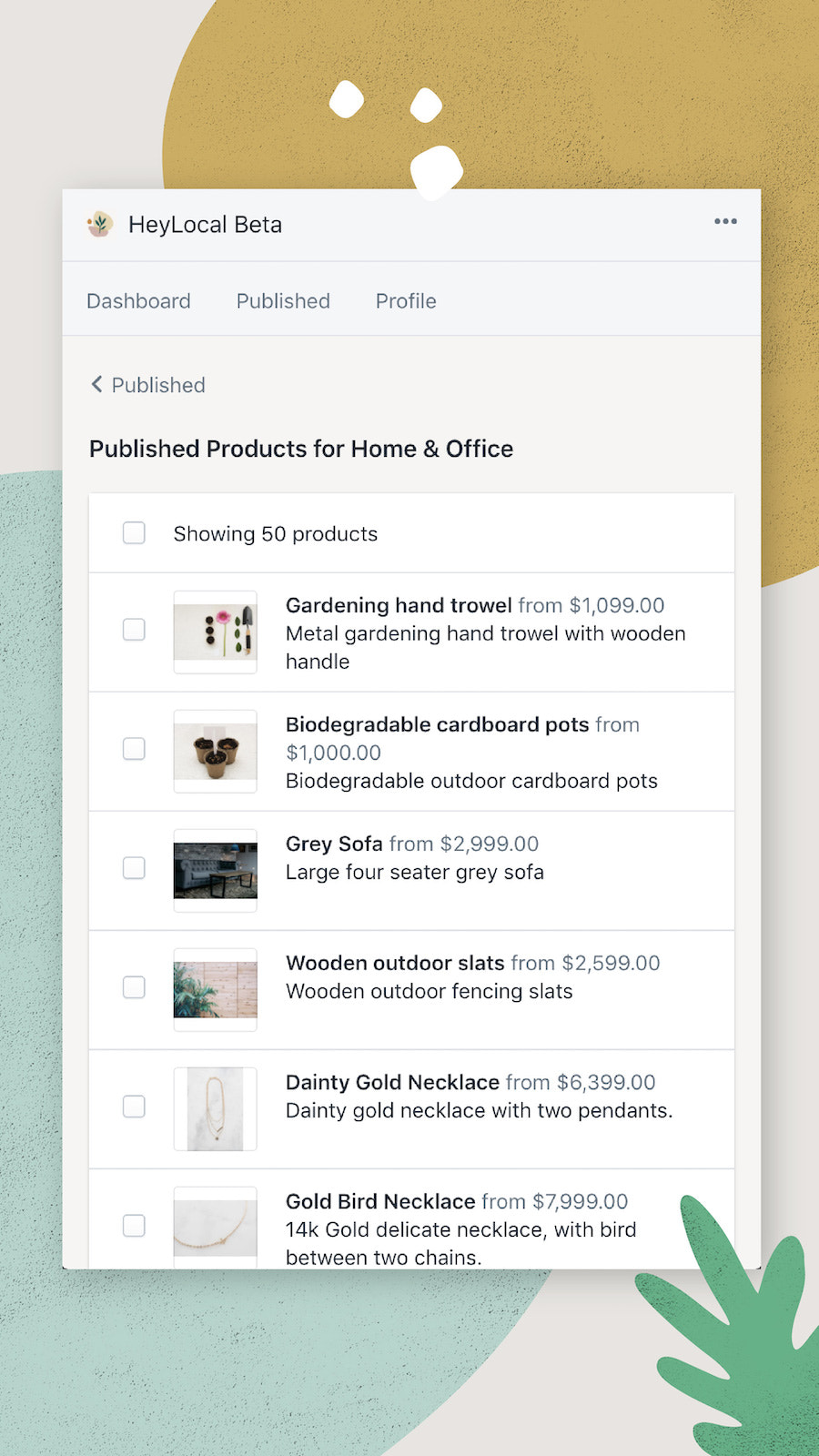 Your published products under a category