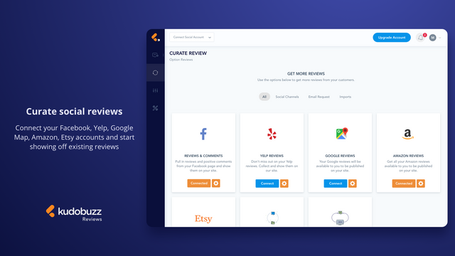 Curate reviews from social channels including Etsy and Facebook