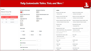 Fully customizable Tables, texts & CSS to match brand guidelines