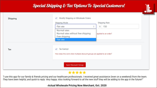 Wholesale Pricing Now Shipping and Tax option