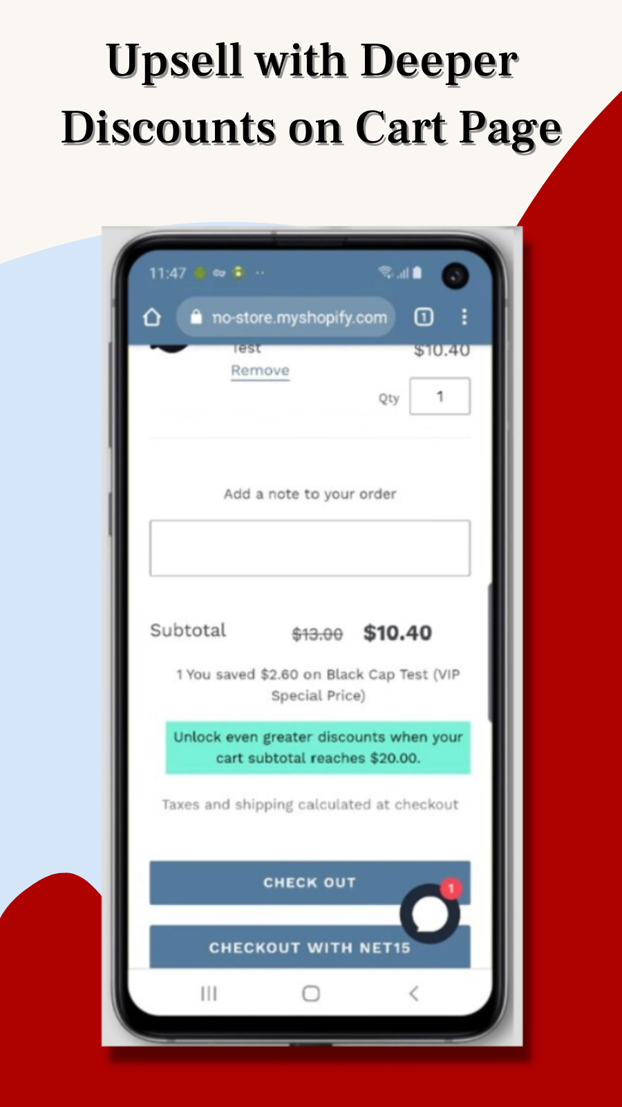 Increase average order value with upsell messages at checkout