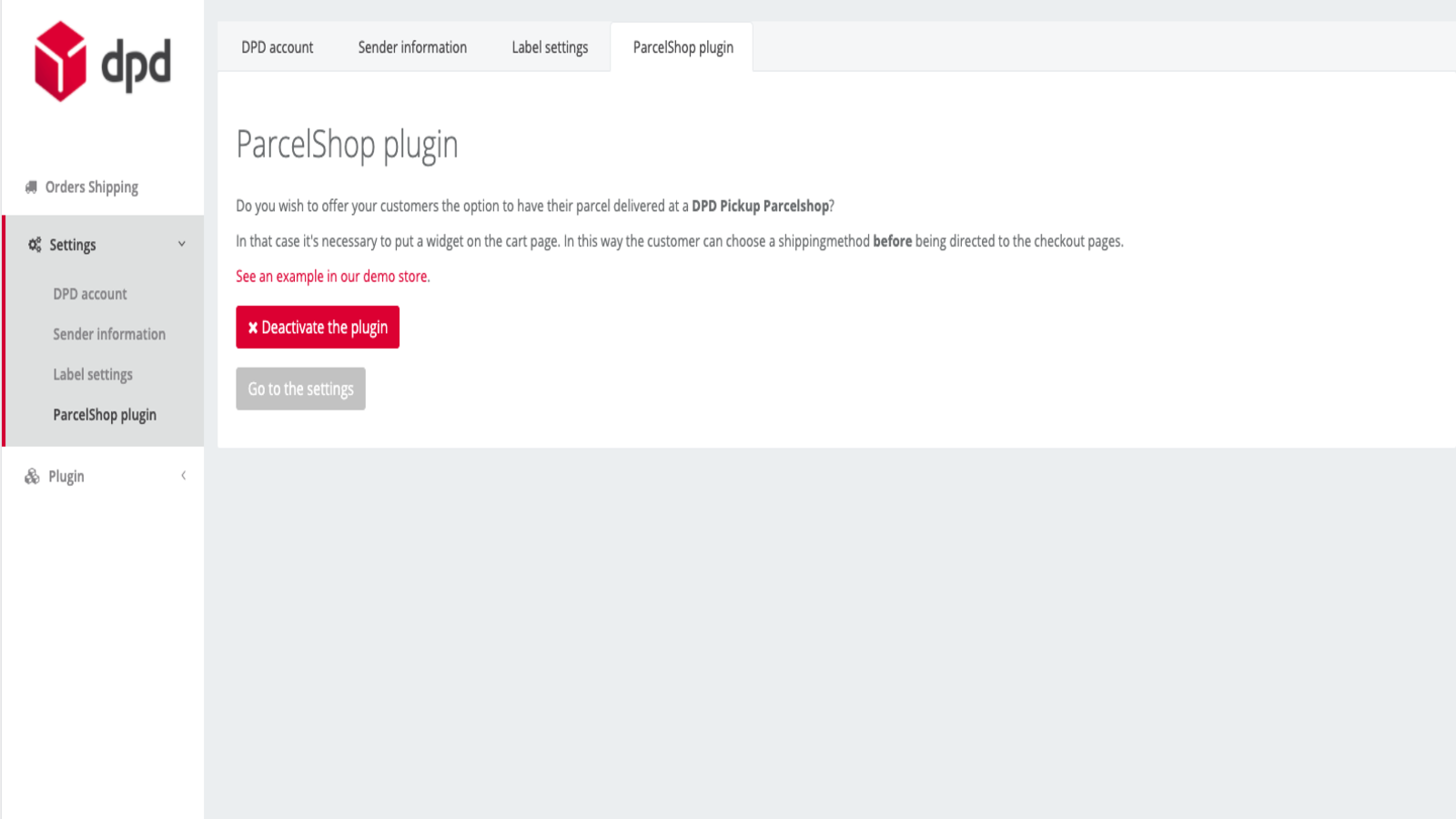 Add parcelshops to the cart page