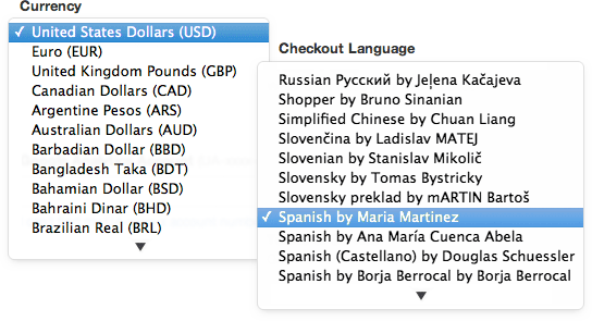 Multiple currencies and languages