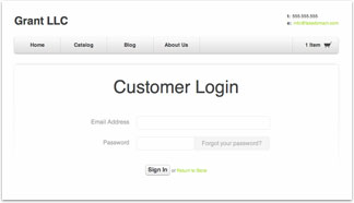 Online store login for CRM