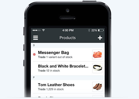 Screenshot of Shopify Mobile inside an iPhone