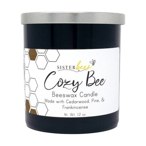 """""""Cozy Bee"""" Beeswax Candle - Farmhouse Style Glass Jar 1"""