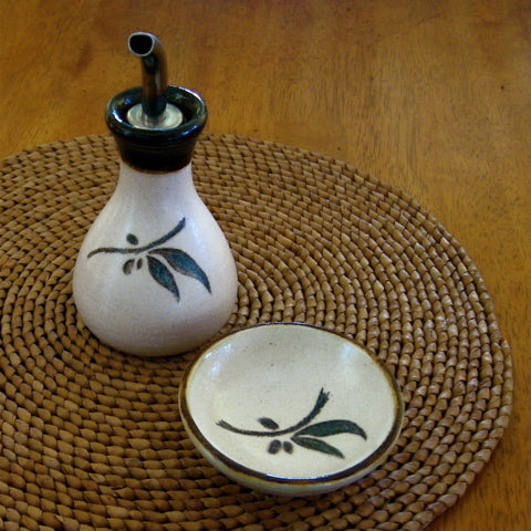 Olive Oil Decanter and Dipping Bowl