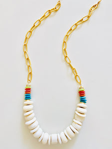 Carved Bead | Rainbow Necklace