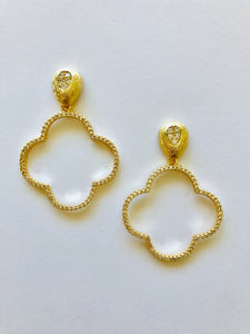 Pave Clover Earrings