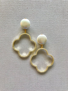 Pearl | Clover Earrings