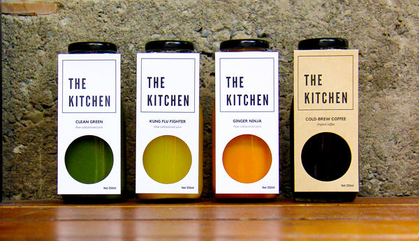 The Kitchen juice and cold-brew coffee labels