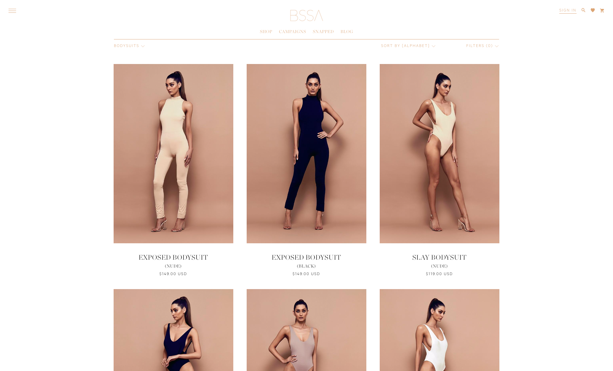BSSA collection page Shopify