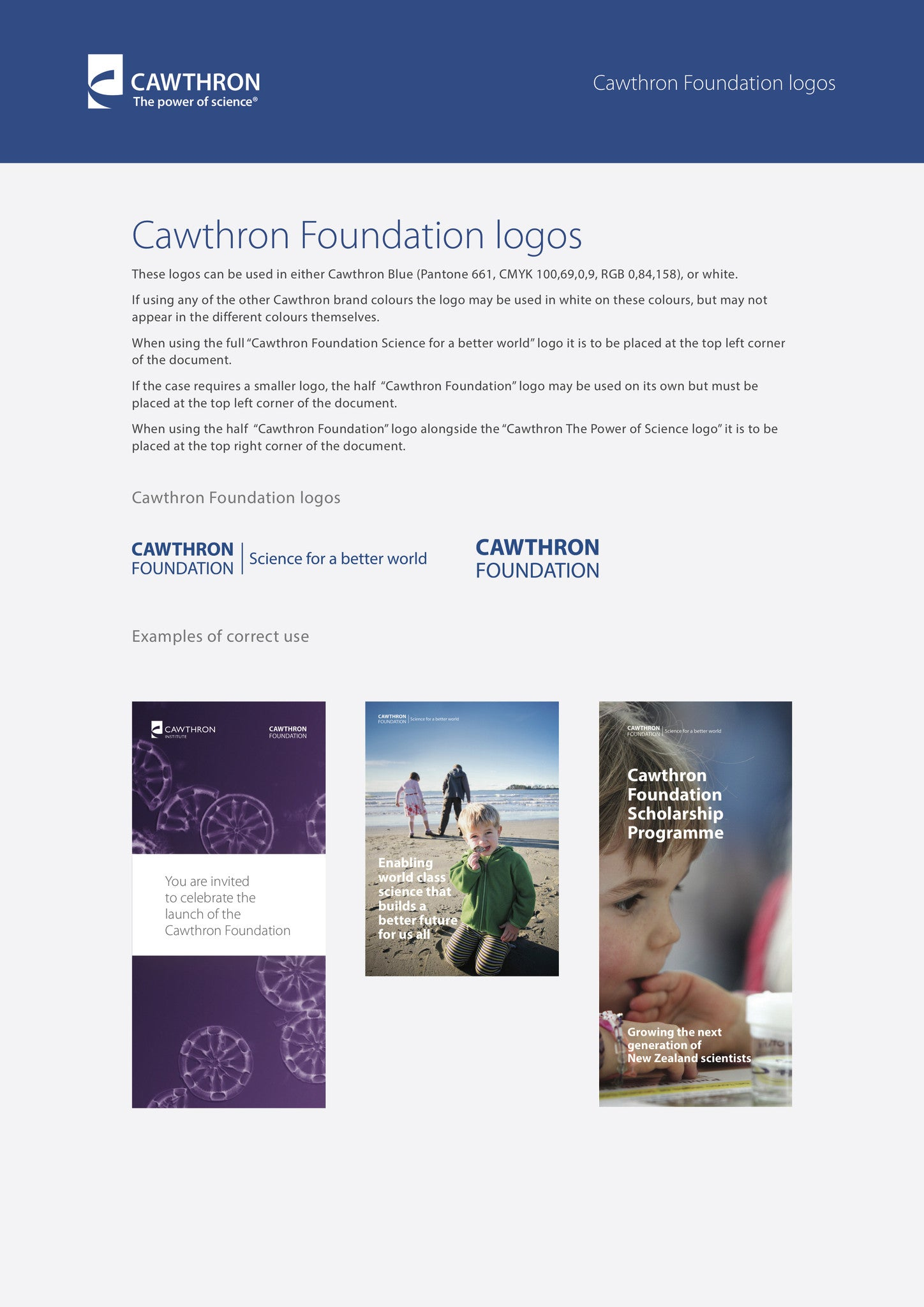 Design of brand guidelines for Cawthron Institute