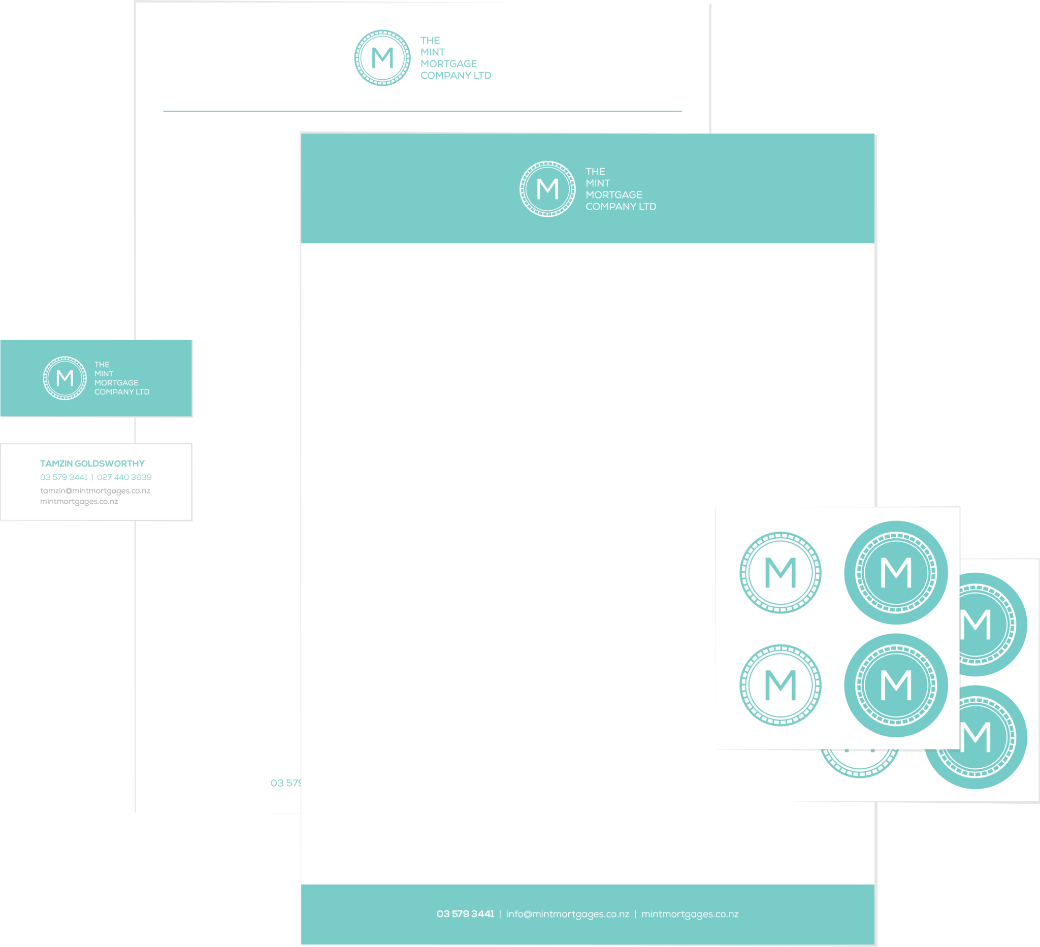 Minimalist branding and stationery design for The Mint Mortgage Company
