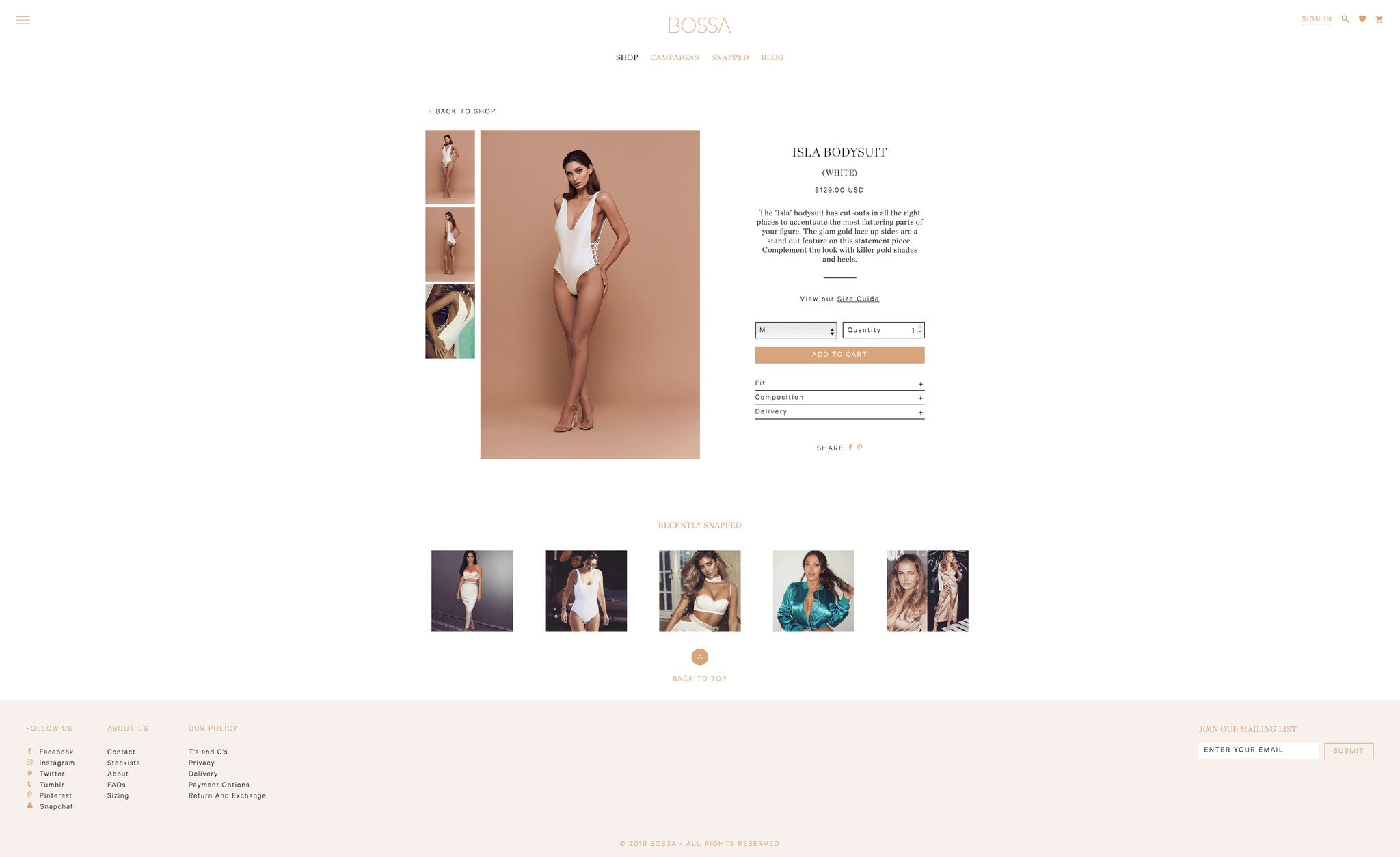 Bossa Shopify product template development