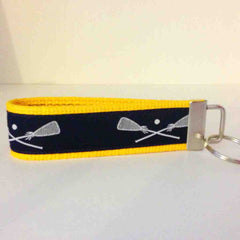 Gold & Navy Lacrosse Key Fob