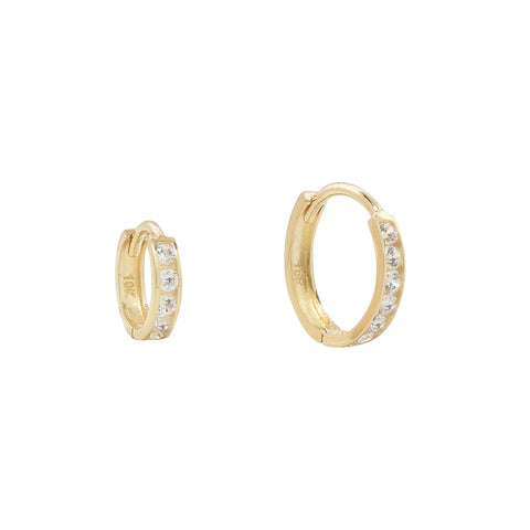 10k Solid Gold Channel CZ Huggie