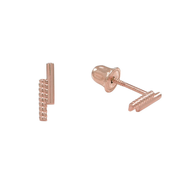 10k Solid Gold Double Bar Studs