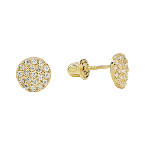 10k Solid Gold CZ Circle Studs