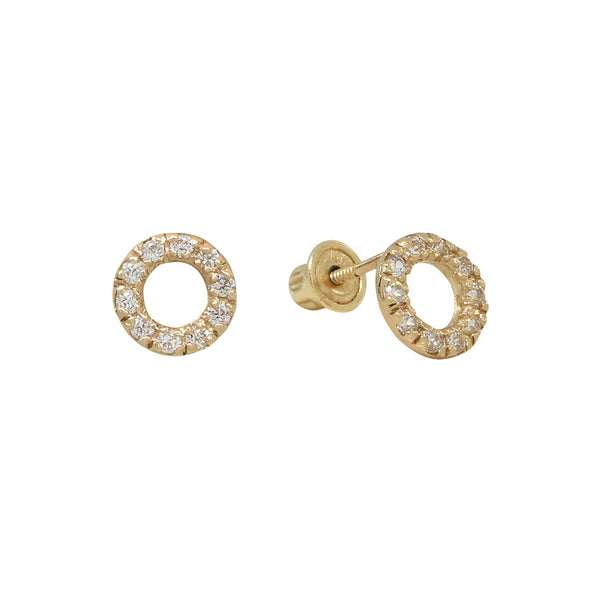 10k Solid Gold CZ Circle Cutout Studs