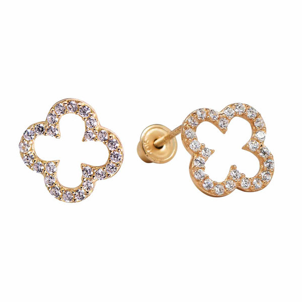 10k Solid Gold CZ Clover Studs