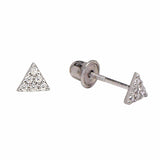 10k Solid Gold CZ Triangle Studs