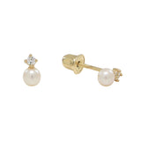 10k Solid Gold CZ / Pearl Studs