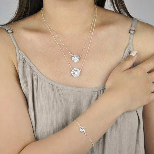 Small Pave CZ Disc Necklace