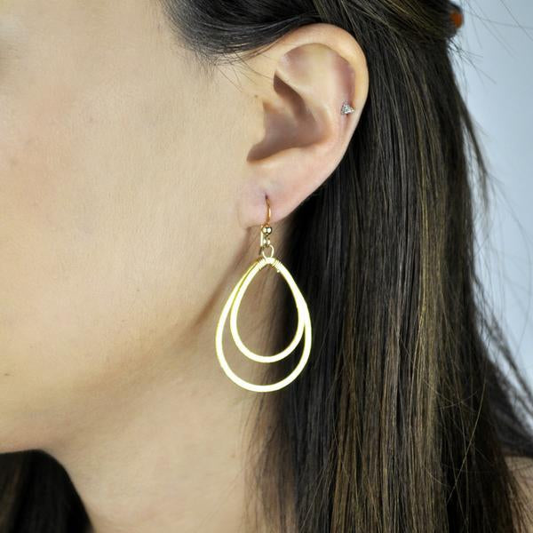 Double Brushed Teardrop Earrings