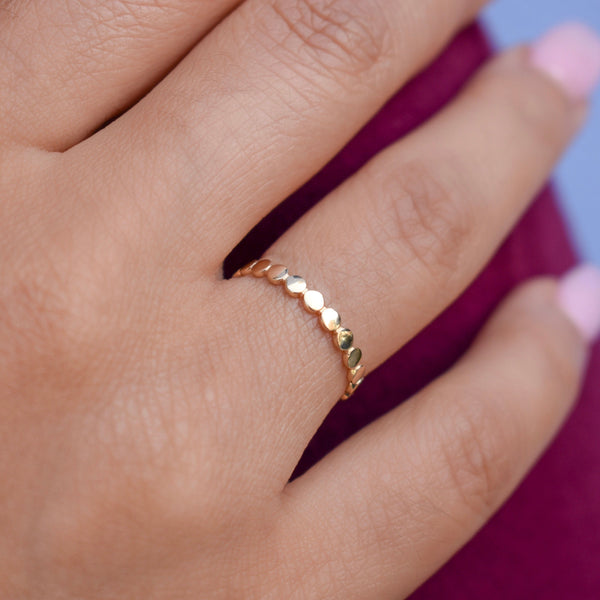 10k Solid Gold Flat Beaded Ring