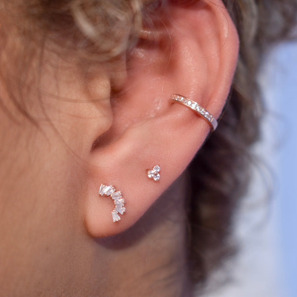 10k Solid Gold CZ Multi-Baguette Curved Ear Crawler
