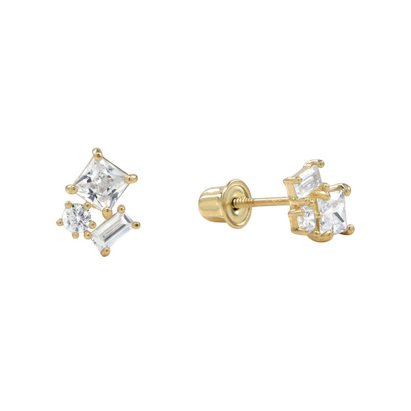 10k Solid Gold CZ Trio Cluster Studs