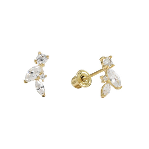 10k Solid Gold Marquise & Round CZ Studs
