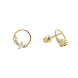 10k Solid Gold CZ Wreath Studs