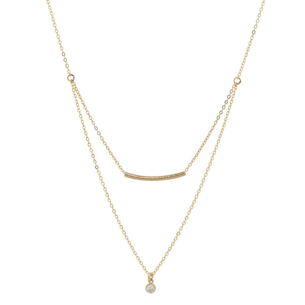 Double Strand Tube + CZ Necklace