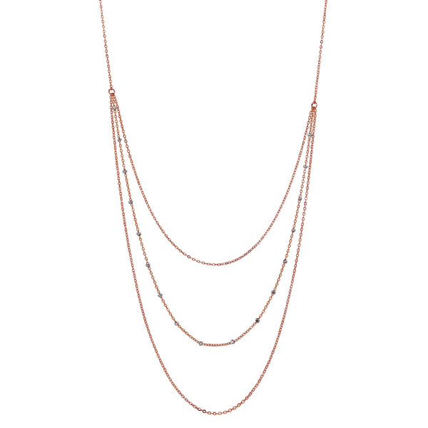 Triple Layer 2-Tone Ball Chain Necklace