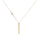 Thin Bar with Off-Center CZ Necklace