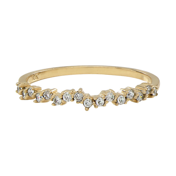 10k Solid Gold CZ ZigZag Ring